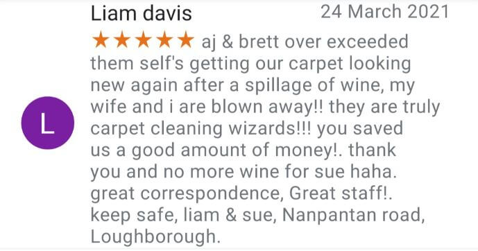 carpet cleaning Loughborough, charnwood, Leicestershire customer 5 star google review.
