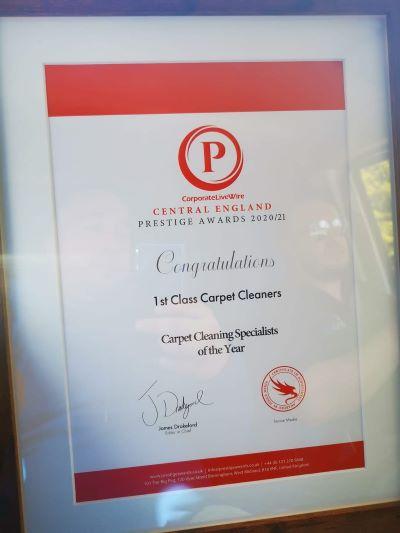 Prestige award winners 1stClass Carpet Cleaners.